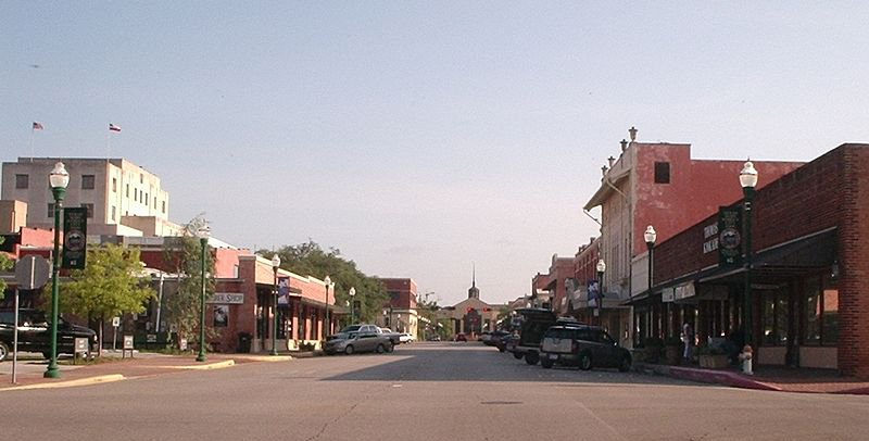 Daytime shot of old downtown Conroe.
