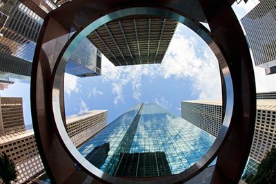Upward View of Skyscrapers