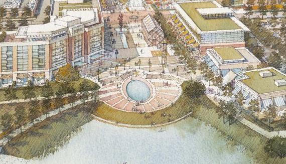 Phase 1 planning illustration of the Springwoods Village Town Center.